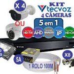 KIT CFTV 4 Câmeras Tecvoz Full HD Flex 5 em 1